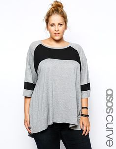 ASOS CURVE Exclusive Oversized Top With Woven Panels