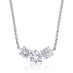 2.00 ct. t.w. CZ Three-Stone Necklace in Sterling Silver