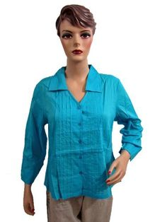 Bohemian Shirt Top Dodger Blue Long Sleeves Womens Blouse Tunic Top Medium Size Mogul Interior. $15.99
