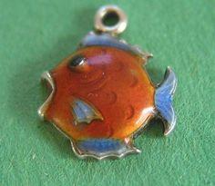 RARE Antique Deco German Silver Enamel Fish Charm Sweet Pretty Colors | eBay