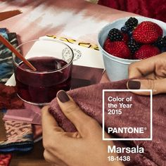 """PANTONE has unveiled its 2015 Color of the Year: PANTONE Marsala. Described as a """"naturally robust and earthy red"""", the rich. Pantone 2015, Pantone Color, Colour Schemes, Color Trends, Color Combos, Colour Palettes, Use E Abuse, Creative Review, Boconcept"""