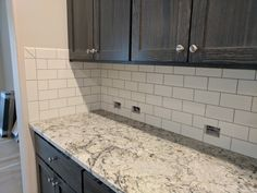 White subway tile with gray grout and ice blue granite Granite Bathroom, Granite Kitchen, White Ice Granite, Gray Granite, Light Granite Countertops, Kitchen Remodel, Kitchen Reno, Kitchen Cabinets, Kitchen Counters