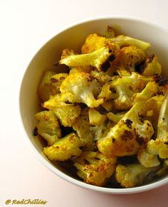 Another cauliflower recipe w/a little pizazz: tumeric & chili power! Made these tonight and everyone loved 'em!