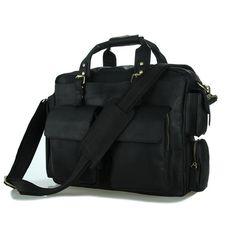 Handcrafted 15'' Genuine Leather Briefcase / Messenger Bag / Laptop Bag / Men's Handbag in Black 7219