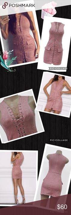 Plush pink lace up mini Plush pink lace up mini.  Faux suede texture, nice weight. Well lined, zip up back. Small amount of stretch to it. Truly plush and soft... beautiful and functional. Can be an Office, brunch, wedding, party piece. My Brand Boutique. gypsi's Dresses Mini