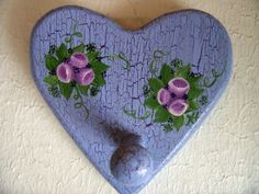 Beautiful Lavender Heart Wall Decor with Peg from Momkmama54 on Zibbet .