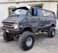 Custom VANS natural BABES & other bad ass transportation. Lifted Van, Gmc Vans, Dodge Van, 4x4 Van, Cool Vans, Bugatti Cars, Custom Vans, Custom Trucks, Vw Bus