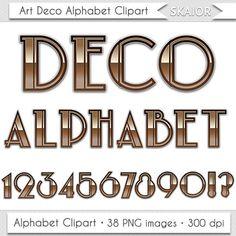 Art Deco Alphabet Clipart Nouveau Letters Clipart Scrapbooking Typography Vintage Alphabet Clip Art Numbers Digital Text Wedding Alphabet
