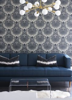 Art Deco inspired wall paper \ would love this in a bathroom. Art Deco inspired wall paper \ would love this in a bathroom. Blue Rooms, Art Deco Interior, Living Room Decor, Decor Interior Design, Home Decor, Modern Playroom, Interior Design, Living Decor, Interior Deco