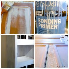 Painting Mobile Home Kitchen Cabinets -- I used this bonding primer and painted all the yucky brown paper covered plastic molding and door frames; you can't imagine the difference!!  Took 2 and sometimes 3 coats of primer and 1 coat of paint.  No bubbling or peeling and is completely washable!