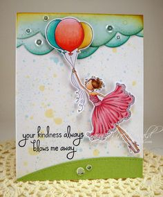 """a Stamping Bella Uptown Girl card—""""Bentley is Blown Away.""""  Splattered this card with some watered down Distress inks."""
