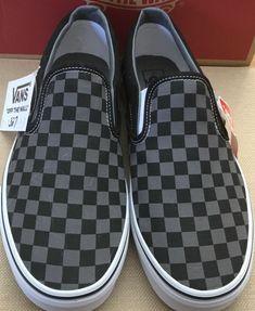 c5ccd3395c Vans Authentic Classic Slip On Black Pewter Checkerd Mens Sz  11 Brand New!
