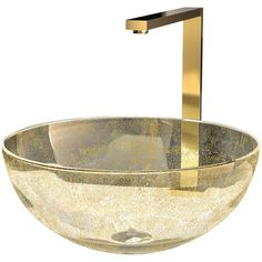 Murano Laguna Luxury Glass Vessel Sink, Gold - Eclectic - Bathroom... ❤ liked on Polyvore featuring home, home improvement and plumbing