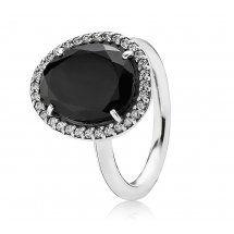 Silver & Black Spinel Oval Ring 190893SPB #johngreedjewellery