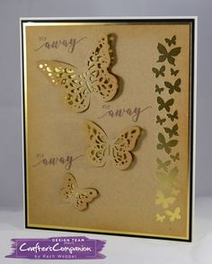 Side fold card made using Sara Signature Flutterby Collection – Trio of wings and arrangement of butterflies dies and fly away stamp set. Designed by Rachel Webber #crafterscompanion