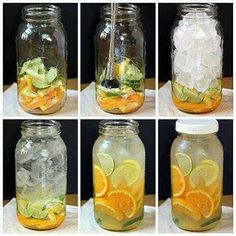 Body Flush and Detox  1 cucumber  1 lemon  1 or 2 oranges   2 limes  1 bunch of mint   Slice them all and fill them jug or bottle up with filtered water. Drink daily. Not only does this taste delicious and help flush fat, but it also counts toward your daily water intake!