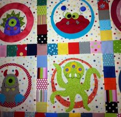 Seriously?!? Is this not the most darling quilt ever?  Little Monsters quilt at Piper's.
