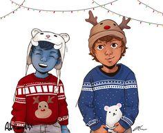 Merry Christmas ... Drawn by AdriCarrollart ... shadowhunters, the mortal instruments, max lightwood bane, blueberry, rafael lightwood bane, little one