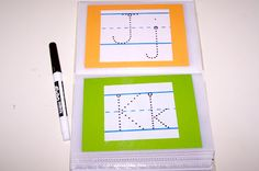 Dollar Store photo album - Print out tracing letters, numbers, words, shapes, etc . Then have fun with a dry erase marker :) by Kayla Morrell Learning Centers, Learning Activities, Toddler Activities, Kids Learning, Literacy Centers, Preschool Literacy, In Kindergarten, Tracing Letters, Number Tracing