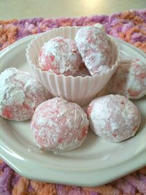 Pink snowball cookies Cookie 1 cup of unsalted butter (softened) 1 cup light brown sugar 1 tsp vanilla 1/2 tbsp coconut oil 2 1/4 cups white whole wheat flour pink coloring powdered sugar (to coat) Directions Cream butter, light brown sugar, vanilla and coconut oil.  Mix well, add flour slowly, then add pink food coloring  (I used icing coloring that's all I use) and mix well.  Roll dough into small balls and bake on 350 for about 15 minutes, let cool on wire rack and toss in powdered sugar!
