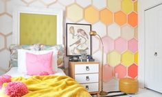 Check out this whimsical ombre-style honeycomb wall.