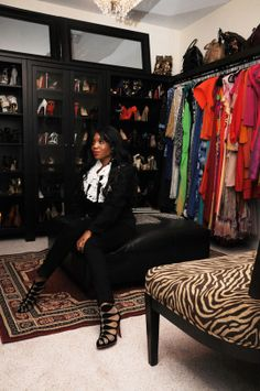 To accommodate her ever-expanding wardrobe, Sai — editor of Because I Am Fabulous blog — converted an extra bedroom into a walk-in closet with custom shelving and shoes galore #closet #dressing_room