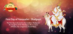 First Day of #Navarathri – Devi #Shaliputri   The first day is devoted to the Goddess 'Shailputri', the daughter of the Himalayas. She is a form of Shakti, the companion of Lord Shiva.