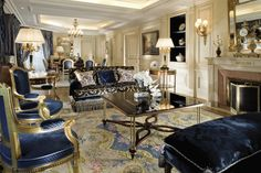 "When it comes to fashioning landmark properties, Pierre-Yves Rochon uses a light touch. For the George V renovation, he ""wanted the design to have a strong French identity but also a streamlined classicism – nothing too heavy."" The property stays fresh with the furniture's glossy white lacquer finish, while blue damask upholstery creates pure elegance... Very stylish indeed !"
