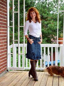 Helles Syskrin: To gamle bukser i ett skjørt Sewing Patterns, Jeans, Style, Fashion, Stitching Patterns, Moda, Factory Design Pattern, La Mode, Fasion