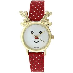 Womens Christmas Reindeer Red and White Polka Dot Strap Watch ($10) ❤ liked on Polyvore featuring jewelry, watches, christmas bracelet, clasp bracelet, buckle bracelet, christmas watches and quartz bracelet