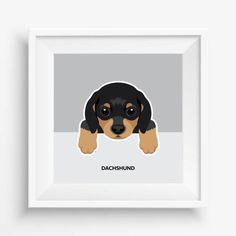 "Dachshund Puppy ,Dachshund Print,Cute Dog Print,Puppy watercolor,Pet Decor,digital Prints,nursery decor,8""x 8""inches (20,3x20,3cm)"
