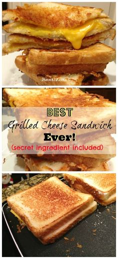 Grilled Cheese Sandwich with a secret ingredient! Best Grilled Cheese Sandwich Ever (there's a secret ingredient that was used that you will NEVER guess)! Grilled Cheese Donut, Grilled Sandwich, Soup And Sandwich, Grilled Cheeses, Best Grilled Cheese Sandwich Recipe, Best Sandwich Recipes, Lunch Recipes, Think Food, I Love Food