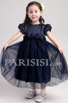 A-line Zipper Black Short Tulle Ankle-length Sleeve Flowers Lace Flower Girl Dress price USD $59 - PARISISI ONLINE DISCOUNT SHOP
