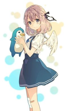 Anime girl / wings / penguin / cute ...