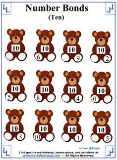 Number Bonds to 10 Worksheet 1 Number Bonds Worksheets, Number Bonds To 10, First Grade Math Worksheets, Addition And Subtraction Worksheets, Math Addition, Number Sets, Alphabet Worksheets, Numbers Kindergarten, Math Numbers