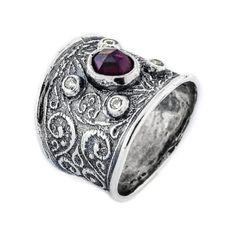 Garnet Ring Zirconia Ring Silver Garnet ring by SimendaJewellery