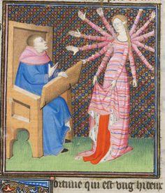 Giovanni Boccaccio, Des cas des nobles hommes et femmes (French translation by Laurent de Premierfait), Paris ca. 1410.  Bibliothèque de Genève, Ms. fr. 190/2, fol. 30v