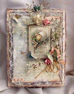 Scrap This: Shabby Chic Easter Card (March 2014)  Over the top pretty. Love it.: