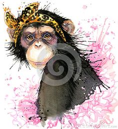 Monkey T-shirt Graphics, Monkey Chimpanzee Illustration With Splash Watercolor Textured Background. Stock Illustration - Image: 62940958