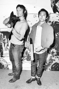 Walking Dead boys. I find Glenn strangely attractive in this photo. Norman Reedus is just ALWAYS attractive :)