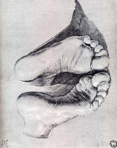 Albrecht Dürer - Feet of a Kneeling Man, 1508