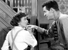 With Robert Ryan in BEWARE, MY LOVELY (1952).