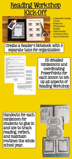 Begin Reader's Workshop in your middle school ELA classroom which includes: creating a Reader's Notebook, 25 minilessons and coordinating PowerPoints, setting up ways for the teacher to organize RW and track student reading data, lay the foundation for guided reading and literature circles, and a TON of handouts for students to glue into their notebooks and use to stay organized the ENTIRE school year.  MASSIVE resource for getting RW off the ground and keeping it going.  ($)