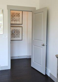 Choosing Interior Door Styles and Paint Colors: Trends Gray painted door and trim. p Gray painted door and trim Choosing Interior Door Styles and Paint Colors Trends Gray painted door and trim p Interior Door Colors, Grey Interior Doors, Interior Door Styles, Painted Interior Doors, Door Paint Colors, Grey Doors, Interior Trim, Painted Doors, Door Design Interior
