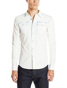 G-Star Raw Mens Landoh Long Sleeve Button-Up Shirt, Bleach Wash, X-Large