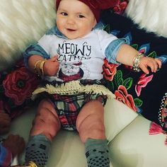 M E O W Y Catmas baby onesie - The Pine Torch. Christmas baby onesies, baby girl clothes, plaid boho baby bloomers