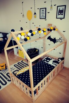 Batman room idea, children bed, toddler bed, house bed, kids teepee, wood house, baby bed, Montessori toys tent bed, children bedroom bed house, nursery bed