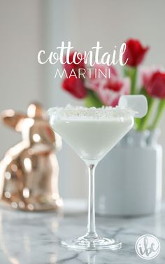Cottontail Martini - a coconut martini cocktail recipe for spring and Easter. #cocktailrecipes   ChicChicFindings.etsy.com