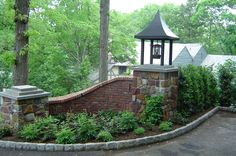 Exterior Designs : Cool Driveway Entrance Landscaping With Custom Landscaping Landscaping Bricks Stones Driveway Entrance Landscaping, Brick Driveway, Brick Fence, Brick Wall, Gravel Driveway, Outdoor Landscaping, Brick Columns, Stone Pillars, Brick And Stone