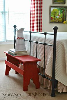 Savvy Southern Style: Mid Summer Farmhouse Style Guest Room -- love that little red bench and I think we could build that! Country Farmhouse, Country Decor, Farmhouse Decor, Country Charm, French Country, Farmhouse Curtains, Style Cottage, Red Cottage, Victorian Cottage
